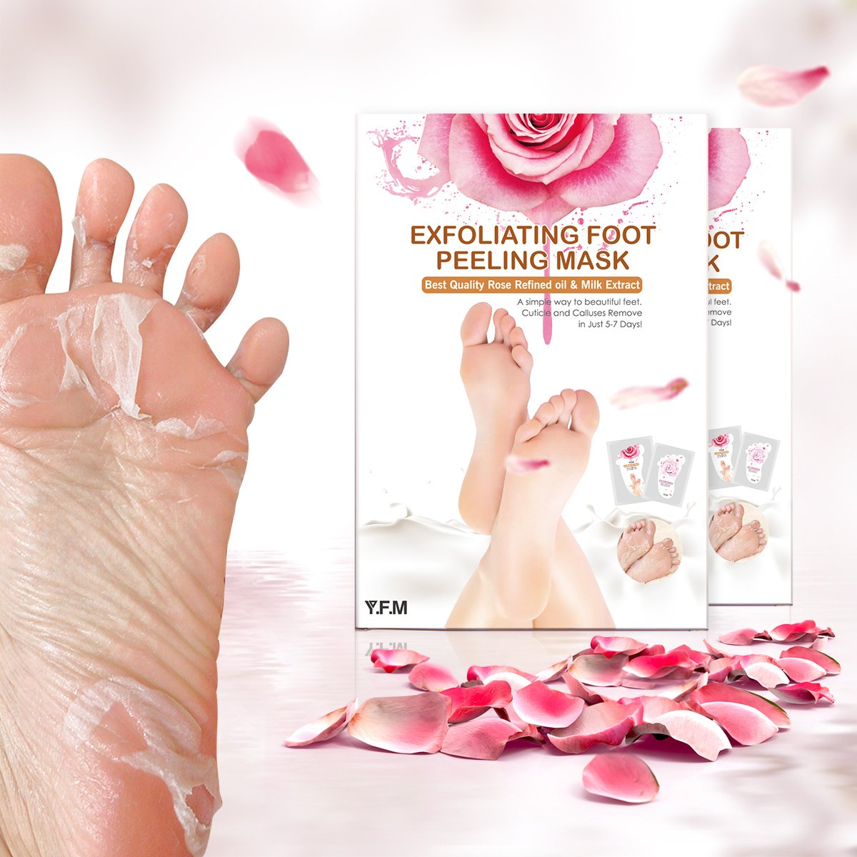 2 Pairs Rose Foot Mask, Luckyfine Mother's Day Gift Exfoliating Foot Mask Remove Calluses & Dead Skin Cells, Rose Scented, Peel second day, Completely within 4-7 days