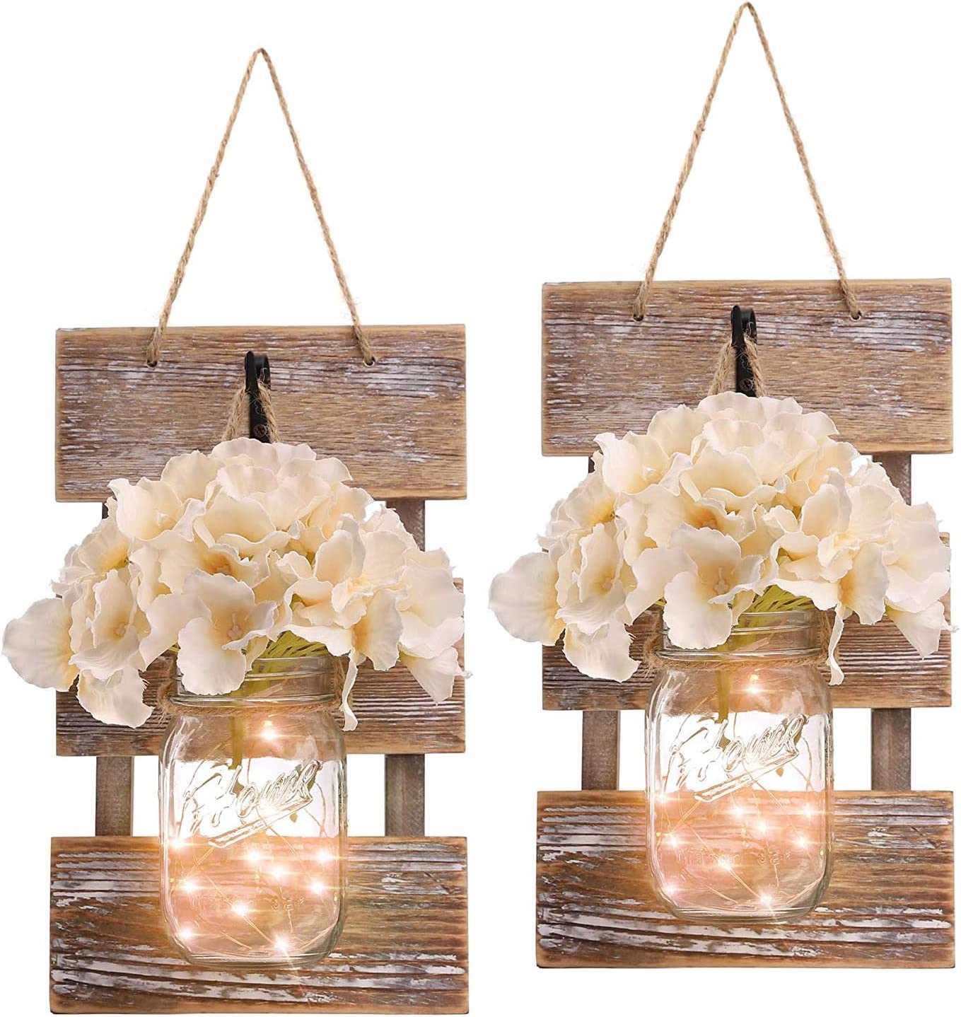 Mason Jar decor with lights - Mason Jar Farmhouse Style Wall Decor with 6-Hour Timer, Wall Sconce Battery Operated with Flower for Home,Living Room,Bedroom Decorations [Set of 2], Brown