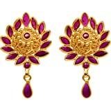 Joyalukkas Ratna Collections 22k (916) Yellow Gold and Ruby Drop Earrings