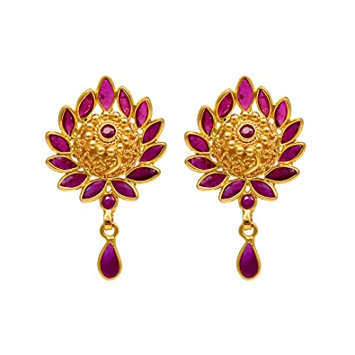 c6930ab646 Buy Joyalukkas Ratna Collections 22k (916) Yellow Gold and Ruby Drop  Earrings for Women Online at Low Prices in India | Amazon Jewellery Store -  Amazon.in