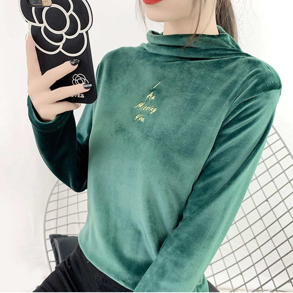 Fashion Women Casual I Miss U Letter Printed Tops Long Sleeve Sweatshirt Blouse Shirts Slim Pullover