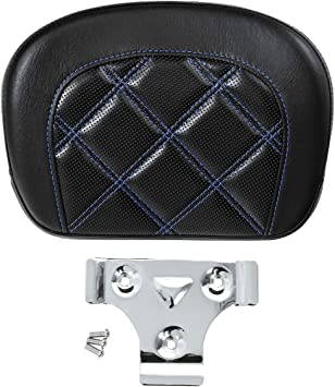 XMT-MOTO Passenger Sissy Bar Backrest fits for Harley Touring CVO Electra Street Road Glide,with Blue stitching