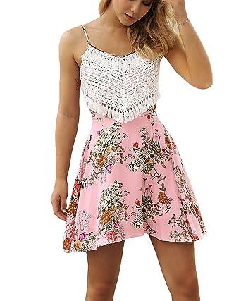 6195bc77c9 Women's Summer Lace Top Sleeveless Spaghetti Strap Floral Short Bohemian  Dress (Pink, Small/