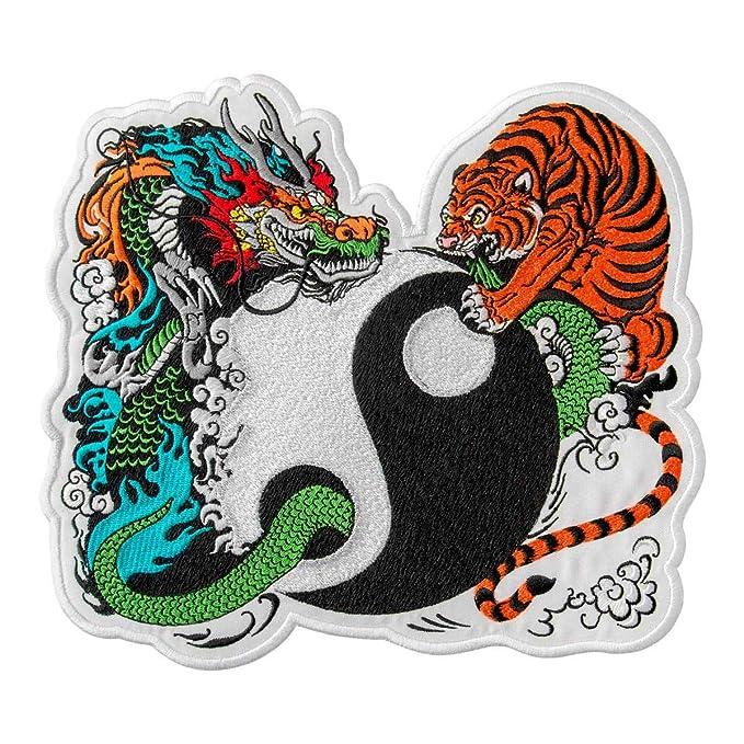 Tiger & - Parche bordado de dragón en el Yin y Yang para planchar ...