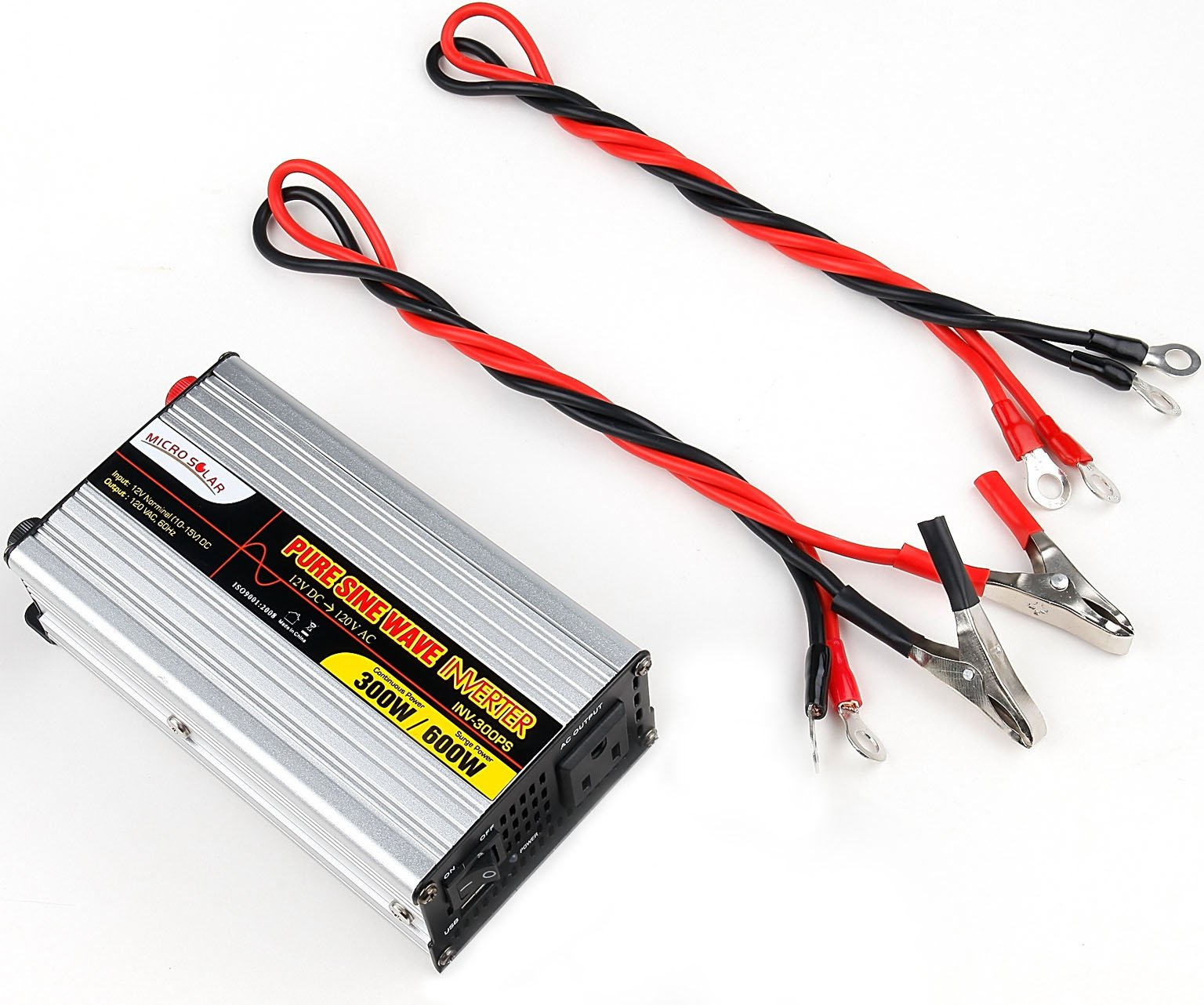 MicroSolar - 300W(Peak 600w) Pure Sine Wave Inverter - with Two Wires