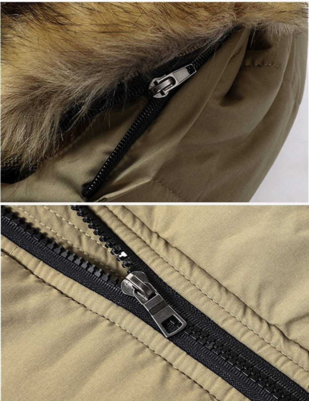 YYZYY Mens Cotton Hooded Faux Fur Thicken Warm Coats Outdoor Outwear Winter Jackets Removable Hood Parka Padded