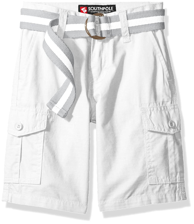 4 Southpole Boys Belted Ripstop Basic Cargo Shorts White