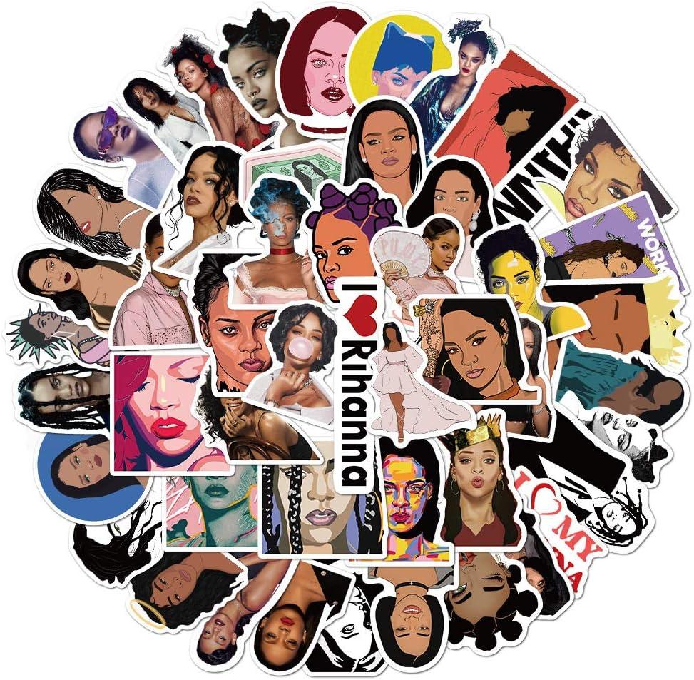Singer Rihanna Stickers for Teen and Girl, Kids Boy Waterproof Water Bottle Skateboard Bike Sticker, Trendy Vinyl Decal for Luggage Phone Laptop (Rihanna)