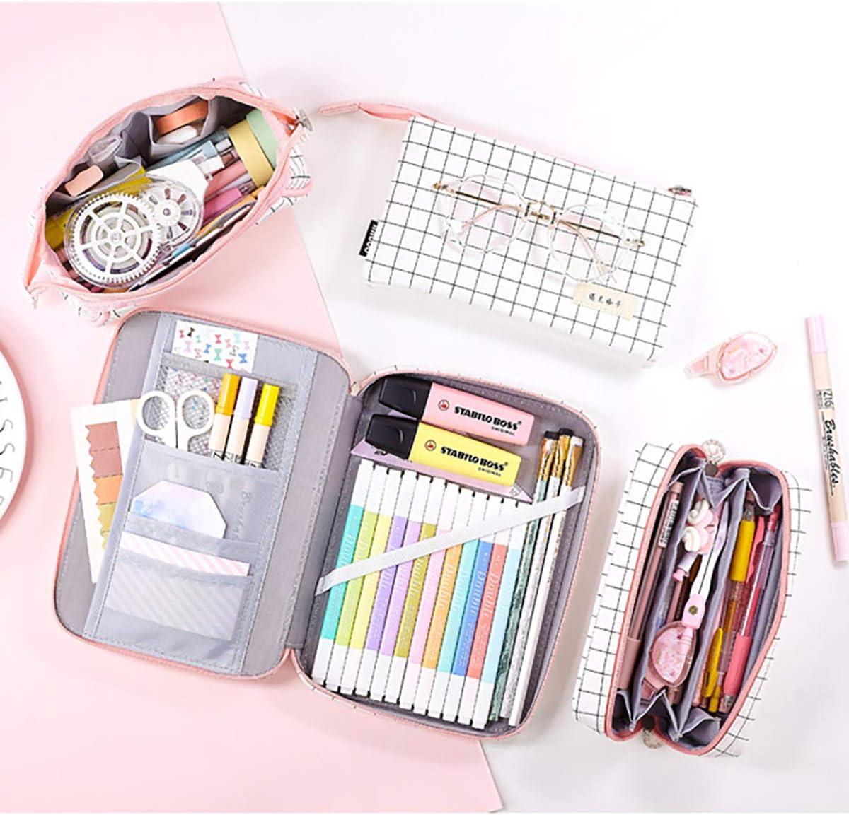 iSuperb Trousses 3 Compartiments Grande Capacit/é Trousse Scolaire Pencil Case Plaid Sac a Crayons Stationnaire Pochette Sac /à Stylos Toile Trousse /à Crayons 3 Poches