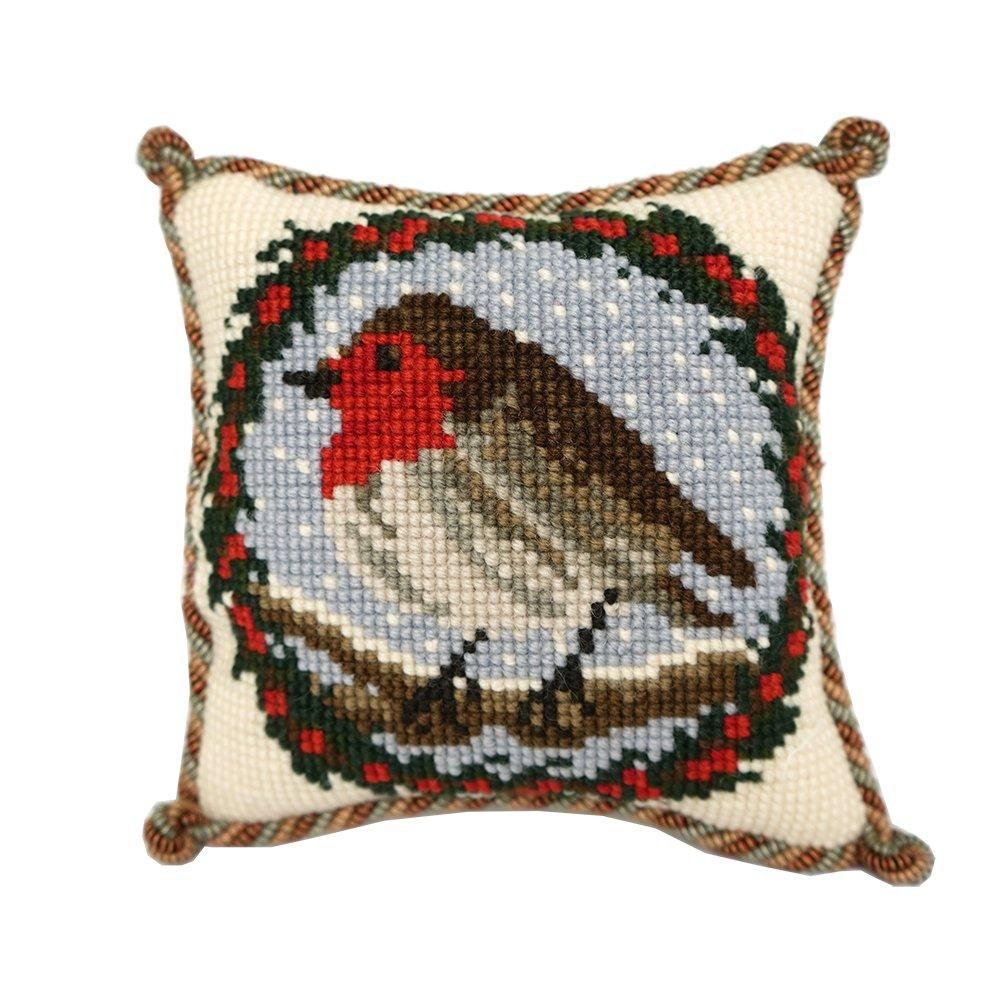 Robin Mini Needlepoint Tapestry Kit from Elizabeth Bradley premium English beginner or easy needlework project on 10 mesh with 100% wool yarns Elizabeth Bradley Designs MIN23