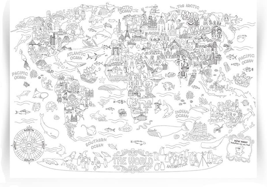 Giant Coloring Poster Wall Size Coloring Book Wall Decal Huge Coloring Page Oversize The World Theme Poster Doodle Art for Kids Children Adults Family Classroom (The World)