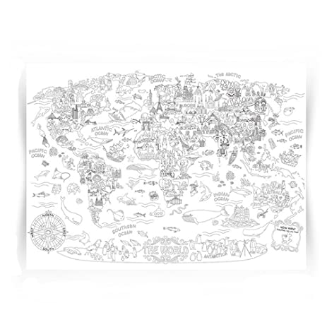Giant Coloring Poster Wall Size Book Decal Huge Page Oversize The World Theme