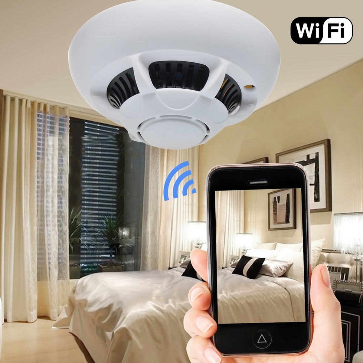 Amazon.com : Dreamclub WiFi Hidden Camera Smoke Detector Nanny Spy ...