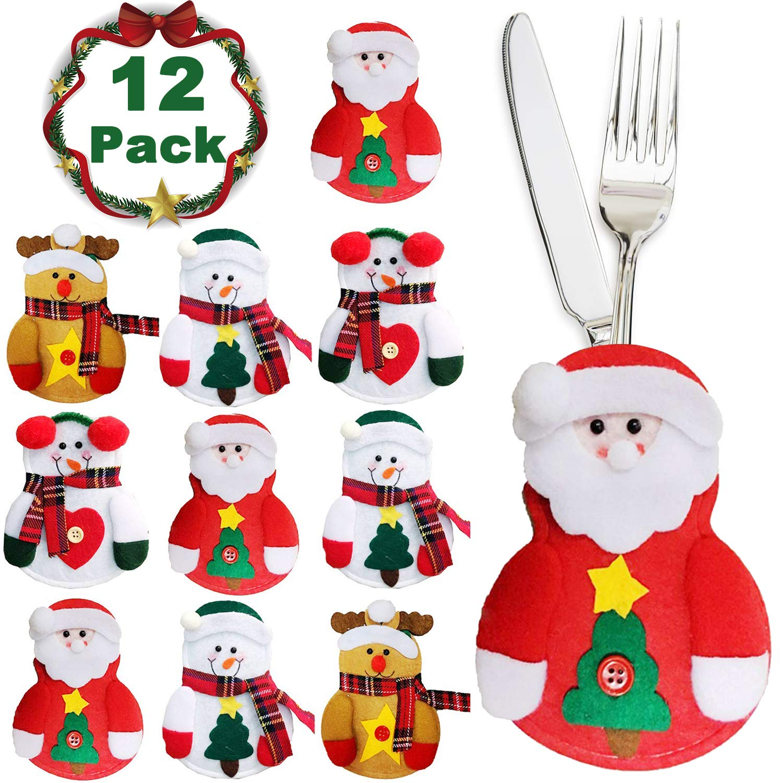 Nekbow 12 Sets Christmas Knifes Forks Bag Silverware Holders Pockets Santa Elk Snowman Pattern Christmas Cutlery Bag Dinner Decorations Tableware Holder Bag for Kitchen Christmas Holiday Gift