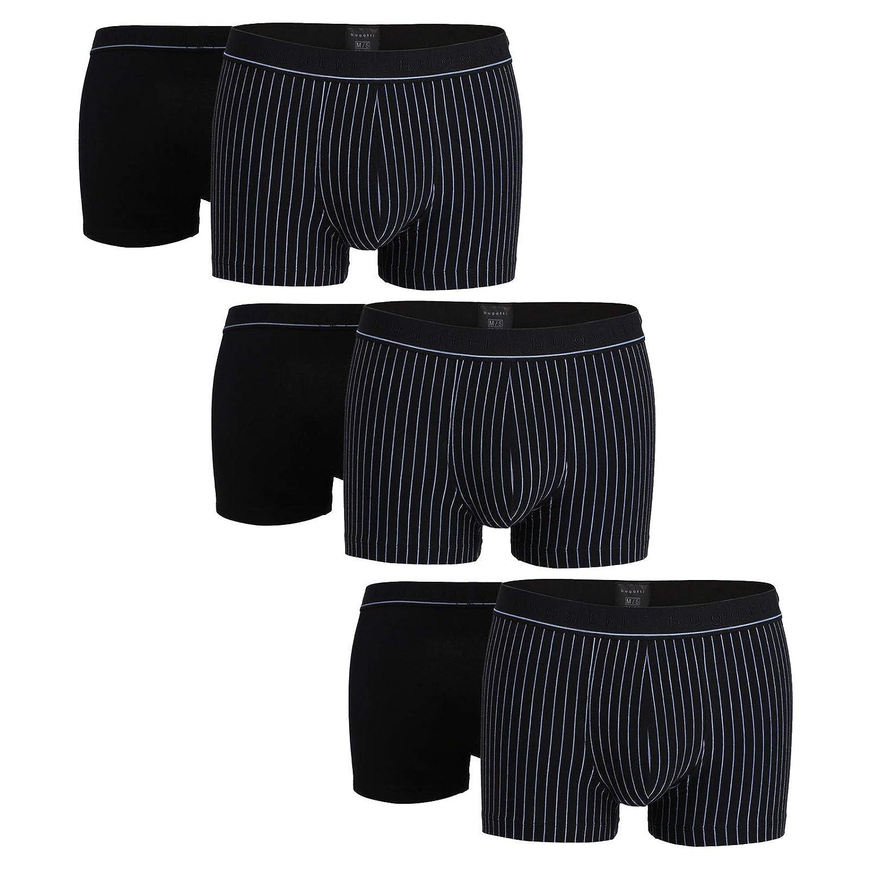 Schwarz(0933) Bugatti 6er Pack Herren Shorts - FLEXCITY, Pants, Baumwoll-Stretch, Uni Streifen