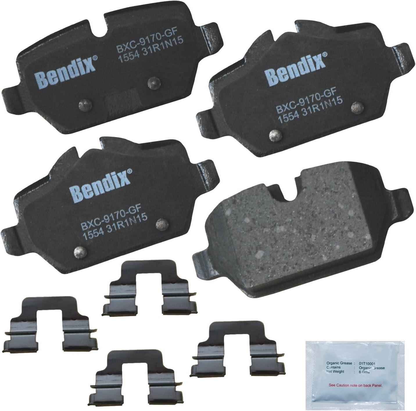 with Installation Hardware Rear Bendix Premium Copper Free CFC1554 Premium Copper Free Ceramic Brake Pad