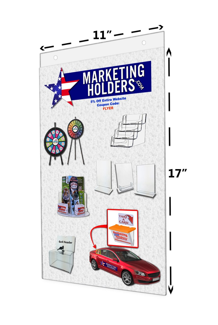 Marketing Holders 11''W x 17''H Clear Acrylic Wall Mount Ad Frame/Sign Holder with Mounting Holes (Lot of 12)