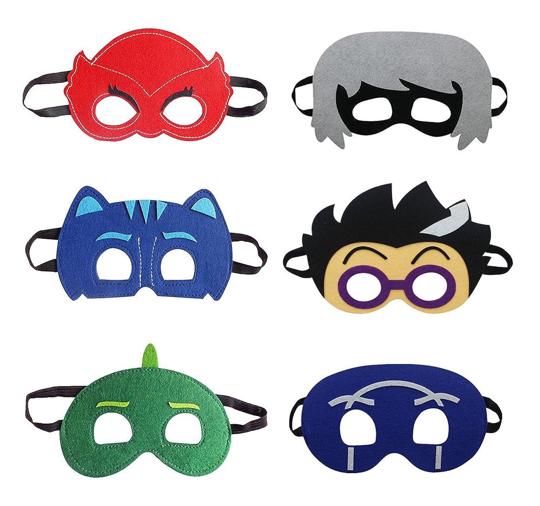 Troy Cartoon Hero PJ Masks Party Supplies Dress up Costumes Set of 6 Masks Kids
