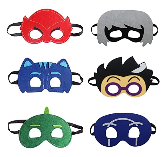 Troy Cartoon Hero PJ Masks Party Supplies Dress up Costumes Set of 6 Masks Kids