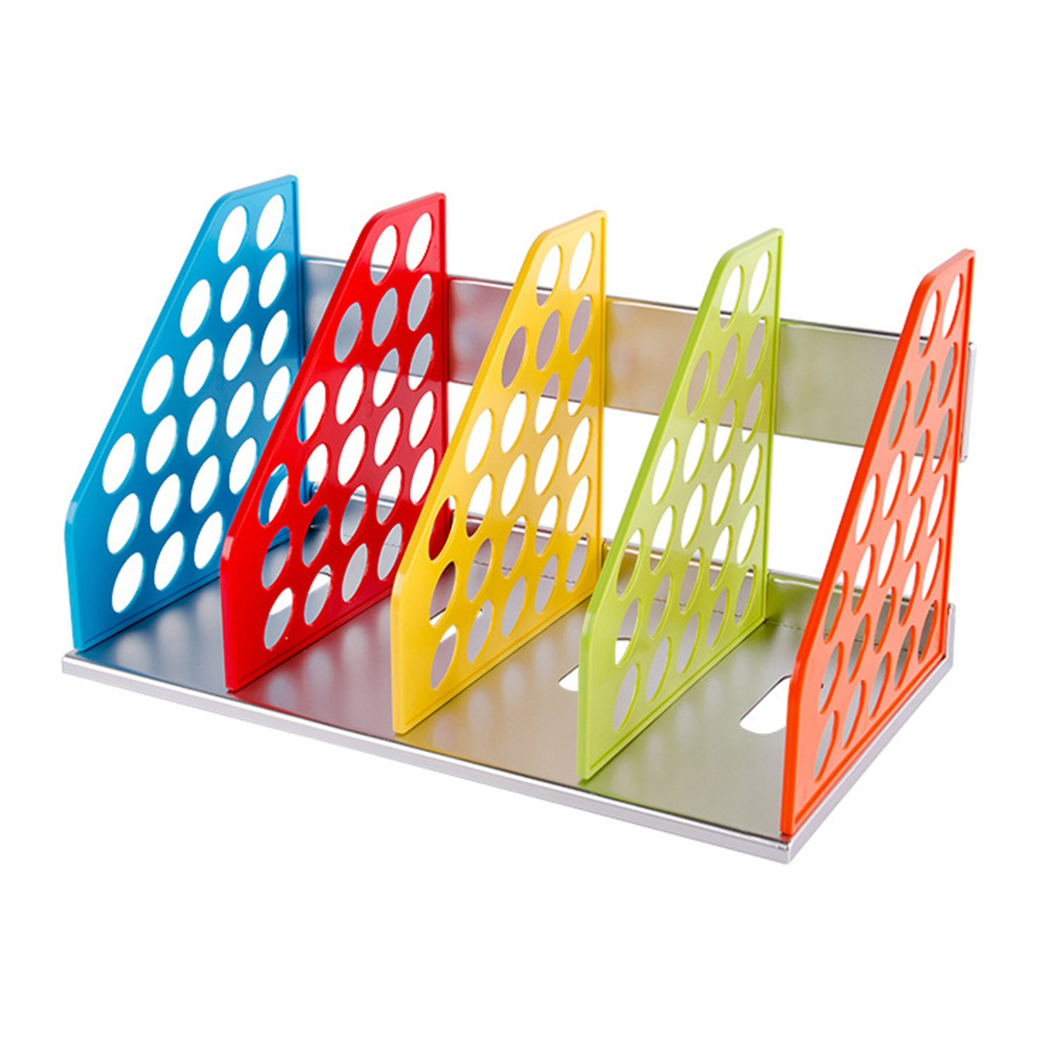 DIY Colorful Bookend Removable Bookstand Support Frame Desk Organizer Storage Plastic Book Shelf Rack Bin Heavy Duty Bookcase Nonskid Document File Holder for Office School Supplies Vertical Standard by Ylucky