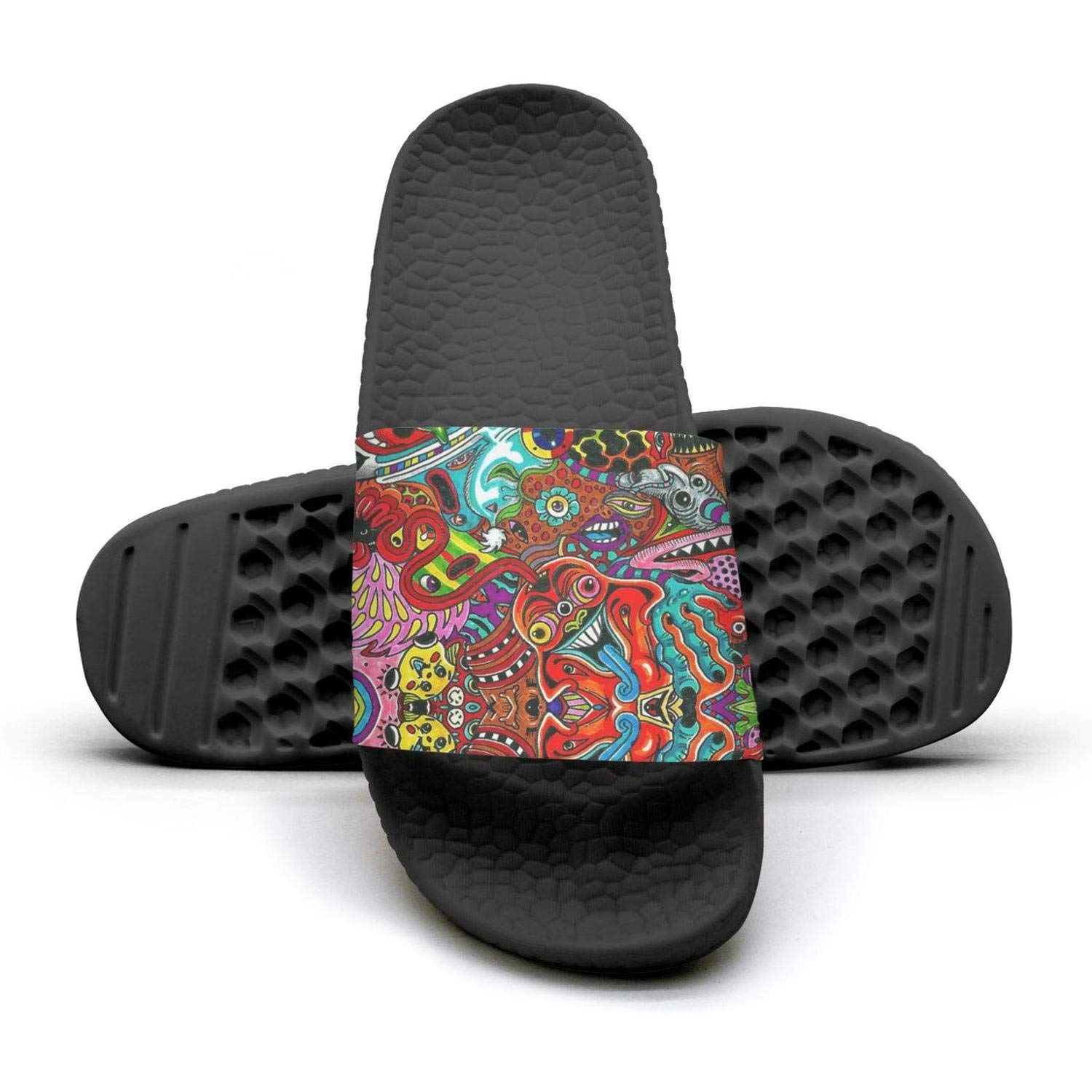 Womens Slides Shoes Athletic Spiral Psychedelic Colorful Sandal Extra-Soft Bathroom Slip On