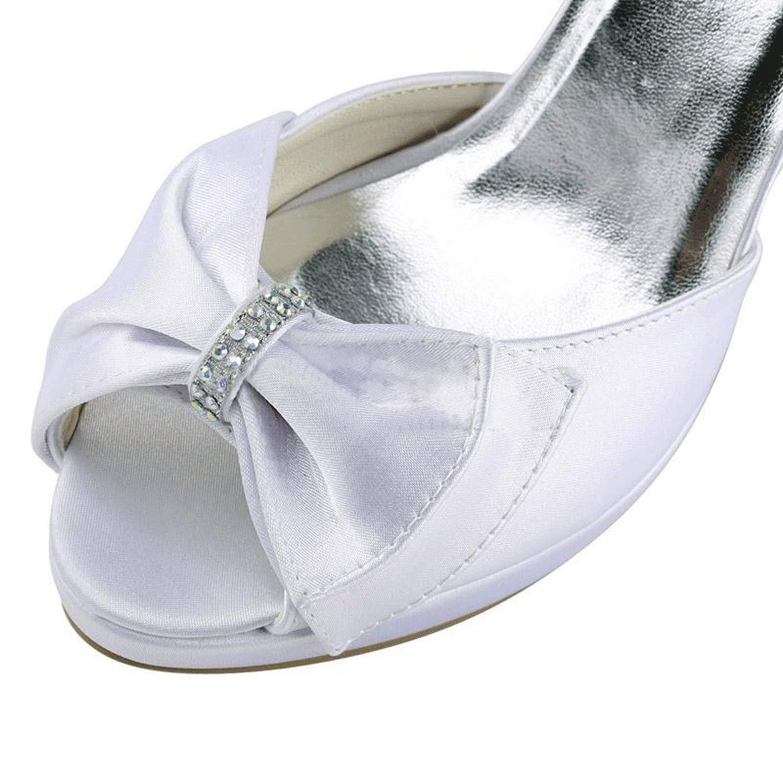 Qiusa Qiusa Qiusa Plattform-Slingback-Plattform-Brauthochzeits-Sandelholze der Mädchen-Frauen (Farbe   Weiß-10cm Heel Größe   3 UK) dec609