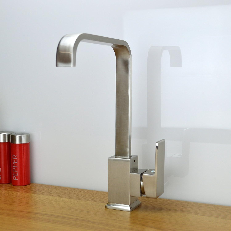 enki italian designer square kitchen sink mixer taps brushed steel nickel milan - Brushed Steel Kitchen Sinks