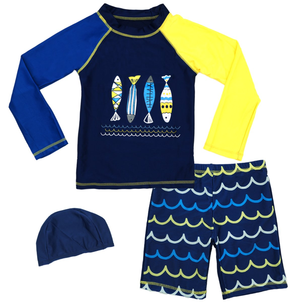 a80f739f09 SINOLY Rash Guard Swimsuits Kids Long Sleeve Swimwear Sets UV Sun  Protective Surfing Suit UPF 50+ Long sleeve design,can best to pretect your  children\'s ...