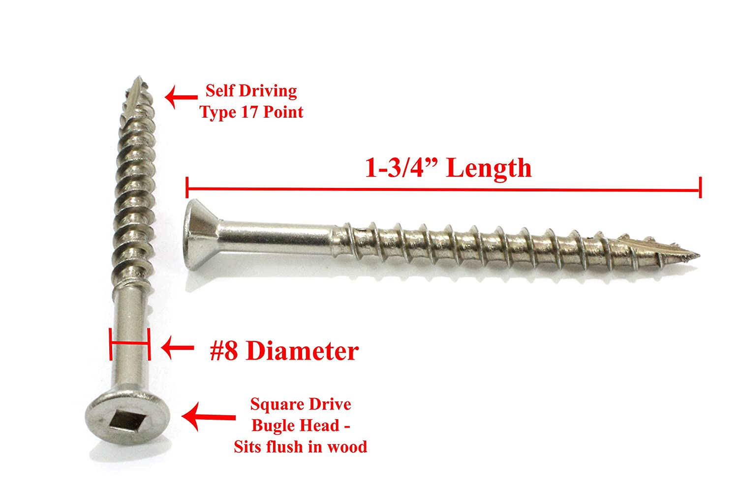 Square Drive Type 17 Wood Cutting Point Stainless Steel #8 x 2-1//2 Stainless Deck Screws, Hidden Fasteners by Bolt Dropper 100 Pack 305 18-8