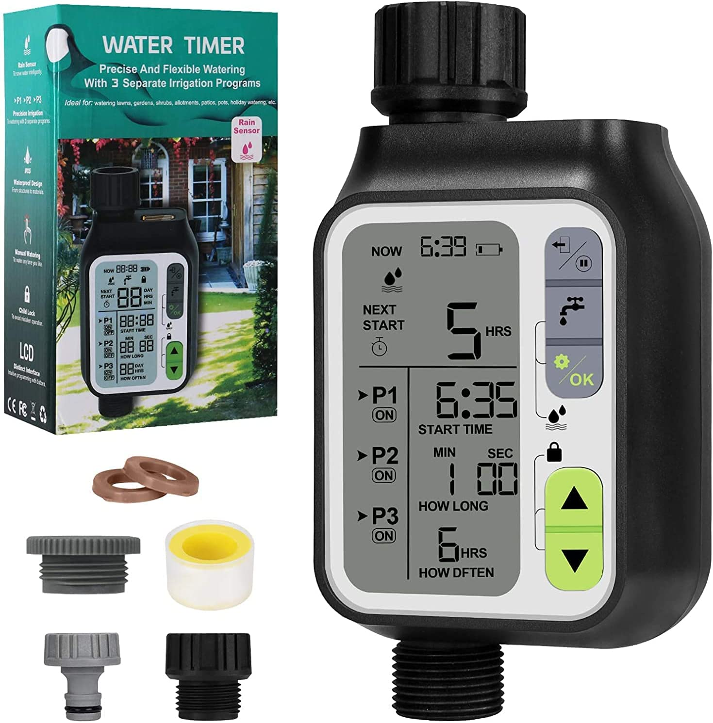 Bearbro Automatic Water Timer,3 Separate Irrigation Digital Programmable,Sprinkler Timer with Rain Sensor/Child Lock/Auto & Manual Watering Mode/IP65 Waterproof,Garden Lawn Hose Faucet Water Timer