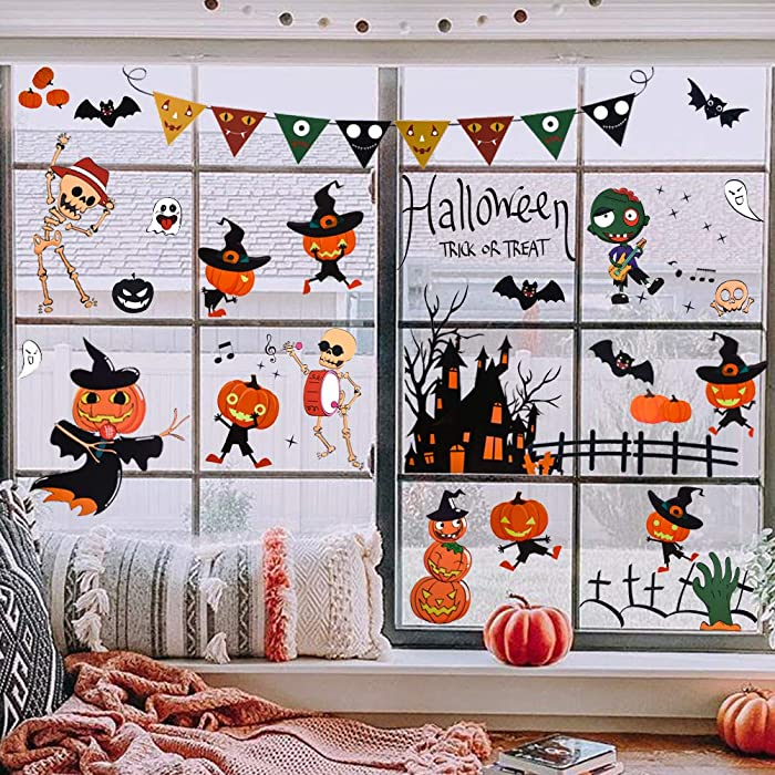 Halloween Decorations Halloween Window Clings Decals Decor for Kids School Home Office Halloween Party Supplies,4 Sheet 95pcs