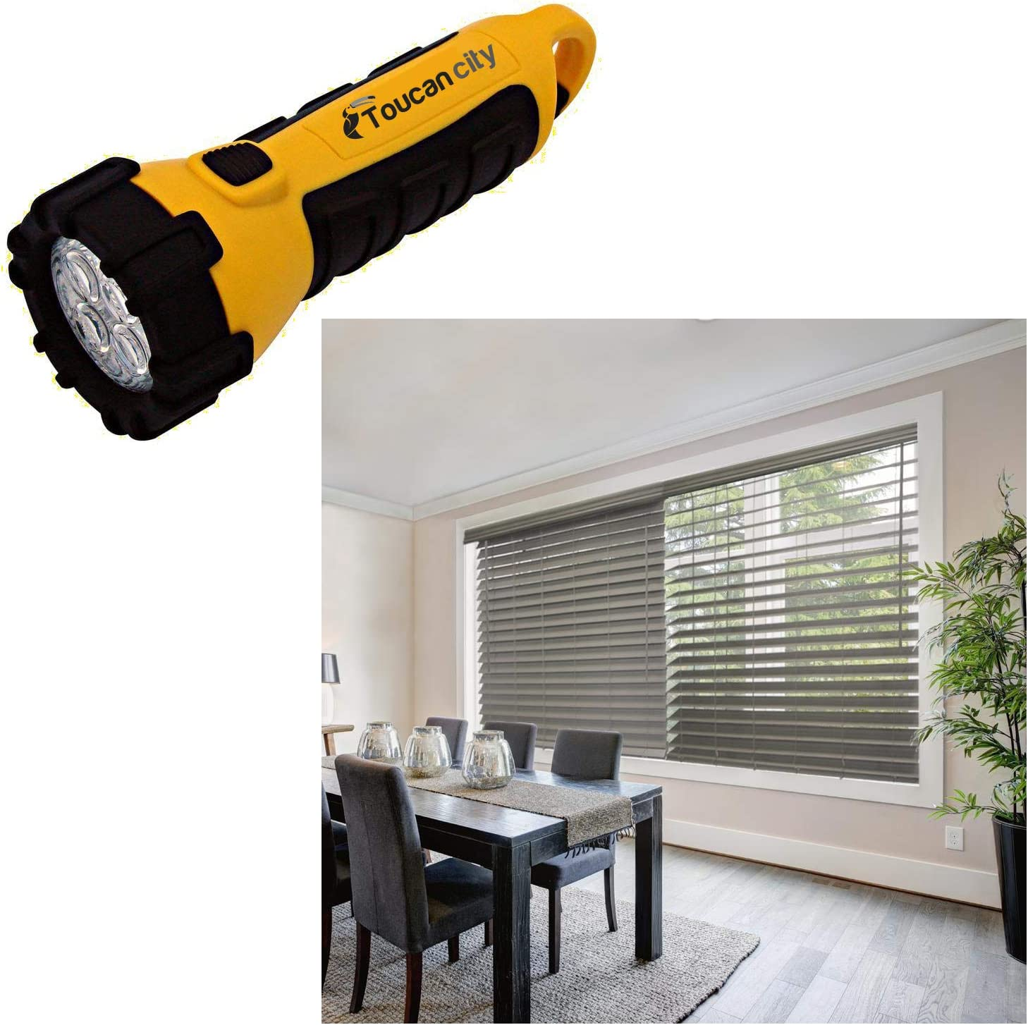 Toucan City LED Flashlight and Home Decorators Collection Gray (Driftwood) Cordless 2-1/2 in. Premium Faux Wood Blinds - 55 in. W x 64 in. L (Actual Size 54.5 in. W x 64 in. L) 10793478381753
