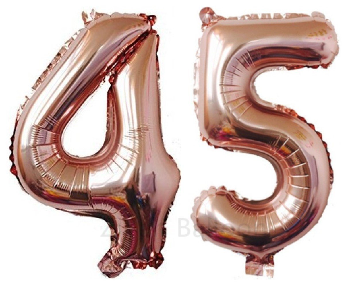 ZiYan 40 Inch Giant 45th Rose Gold Number Balloons,Birthday/Party balloons by ZiYan