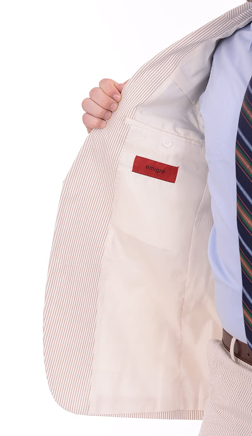 Emigre Mens Tan and White Striped Seersucker Two Button Cotton Suit