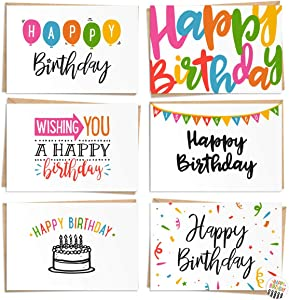 120 Pack Happy Birthday Cards - Bulk Set Includes 6 Designs, Craft Paper Envelopes and Labels Included, 4 x 6 Inches