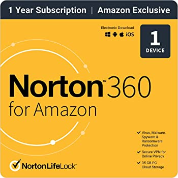 Norton 360 for Amazon Antivirus Software for 1 Device with Auto Renewal