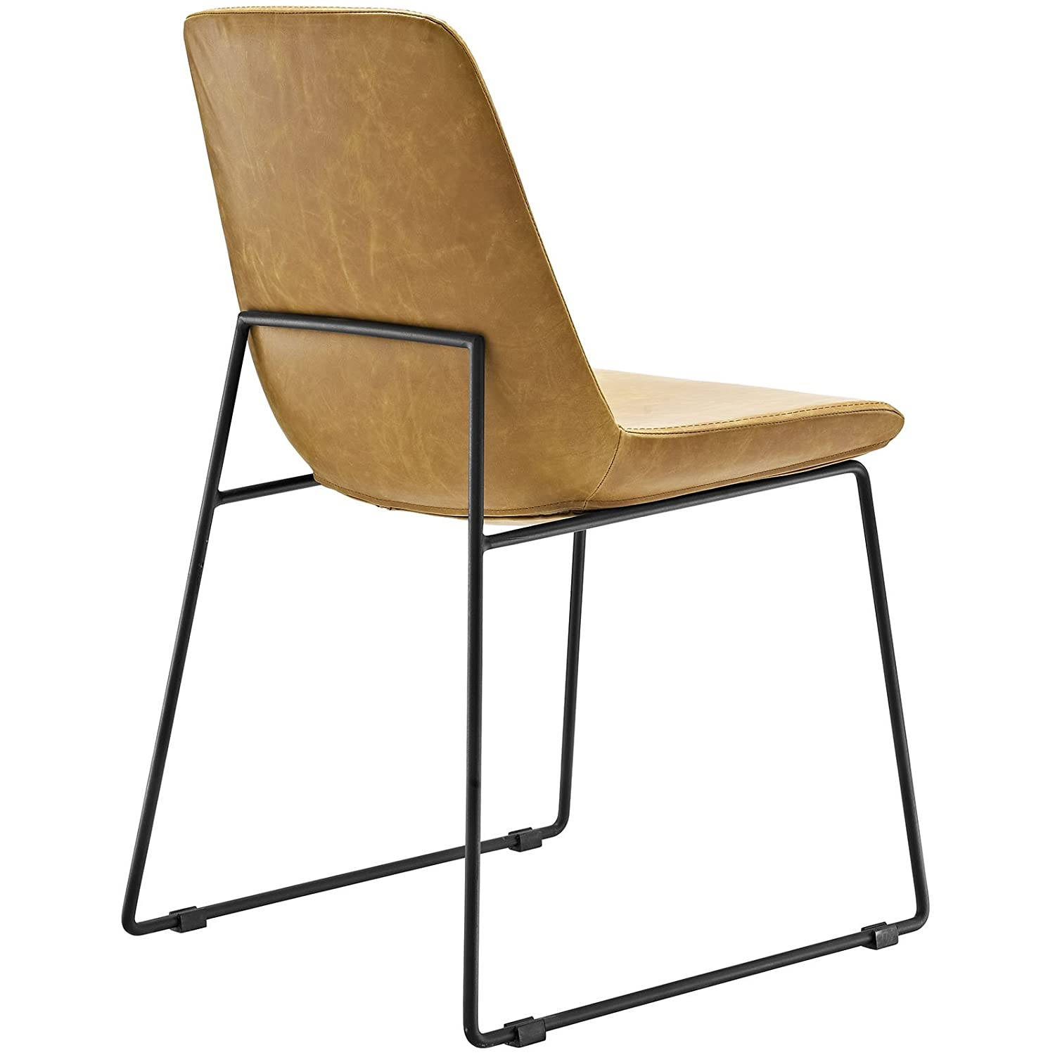 Amazon Modway Invite Dining Vinyl Side Chair Tan Kitchen