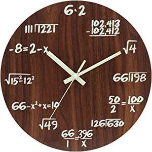 JoFomp Math Wall Clocks, Night Light Wooden Silent Non-Ticking Wall Clock for Mathematics Teacher Gift, Vintage Rustic Country Tuscan Style Decorative Wall Clock for School, Home, Office (Wooden Math)