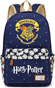 JUSTRHICE Korean Casual Canvas Backpack Laptop Bookbag School Bag Daypack for Harry Potter Cosplay (Dark Blue 1)