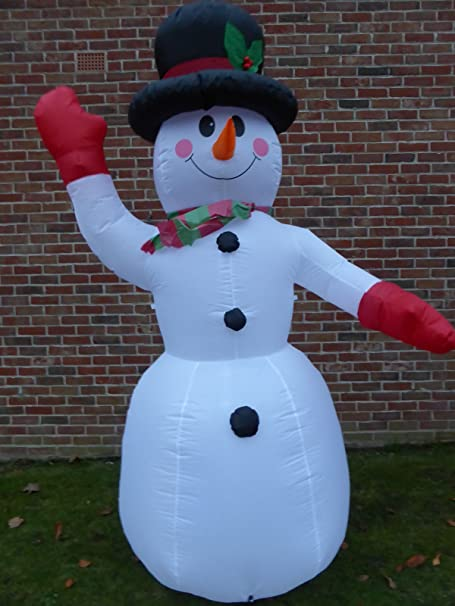 uk gardens large inflatable snowman christmas decoration 240cm 8ft tall with 8 led lights indoor
