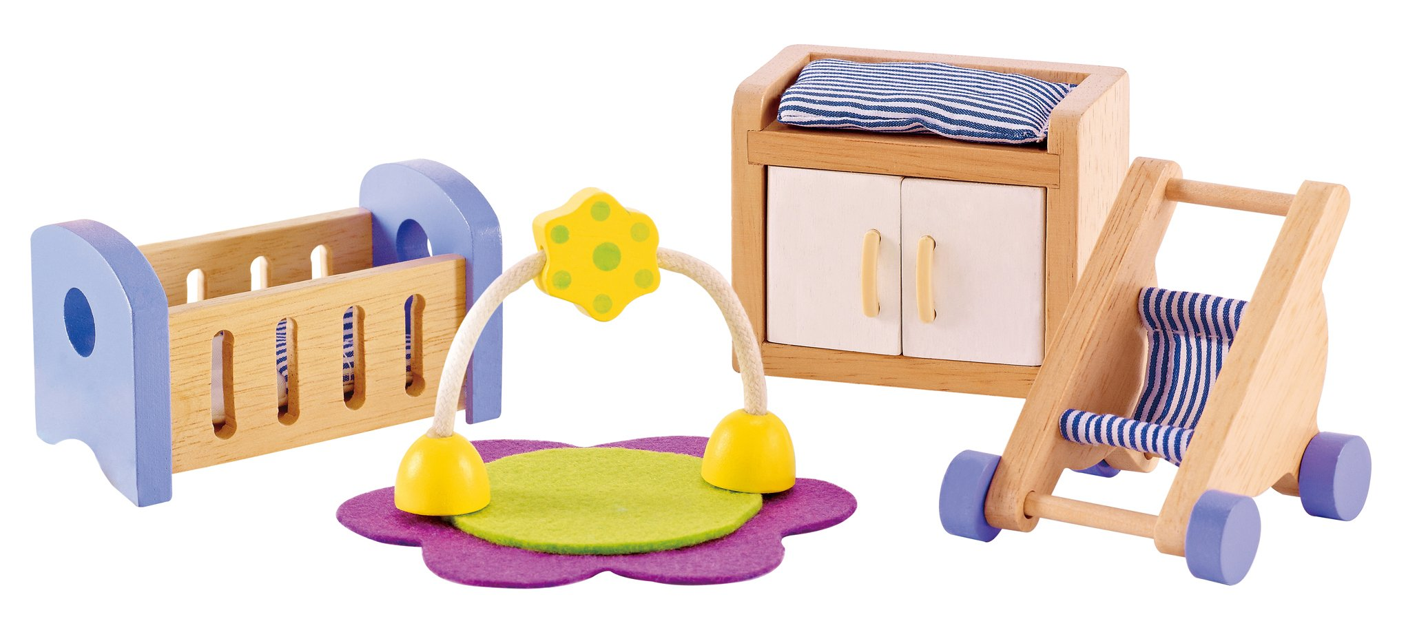 Hape Wooden Doll House Furniture Baby's Room Set