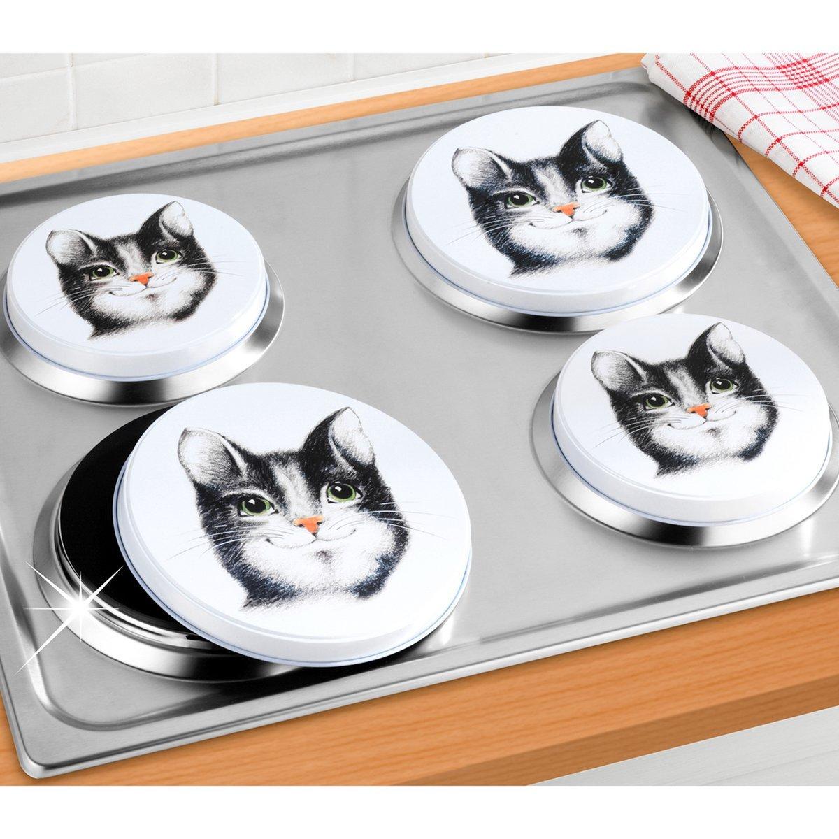 Wenko hob covers, Felix cat design, set of 4, betal, multicoloured, 20 cmx 20 cmx 1.8cm, 2236120900