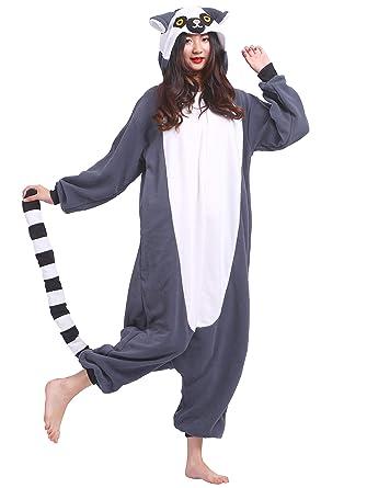 fff7054bb8 Kigurumi Pijama Animal Entero Unisex para Adultos con Capucha Cosplay  Pyjamas Lemur Ring-Tailed Ropa de Dormir Traje de Disfraz para Festival de  Carnaval ...