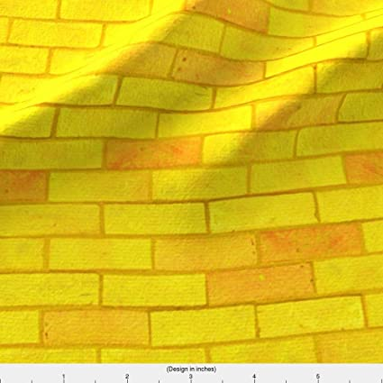 Amazon Spoonflower Brick Road Fabric Wizard Of Oz Yellow