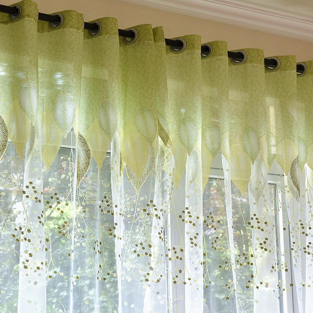 Tenda moderna tende da cucina finestra per la camera da letto Green Leaves Tende per il tessuto della sala da pranzo , hooks top , 1pc(100x250cm) wexe.com