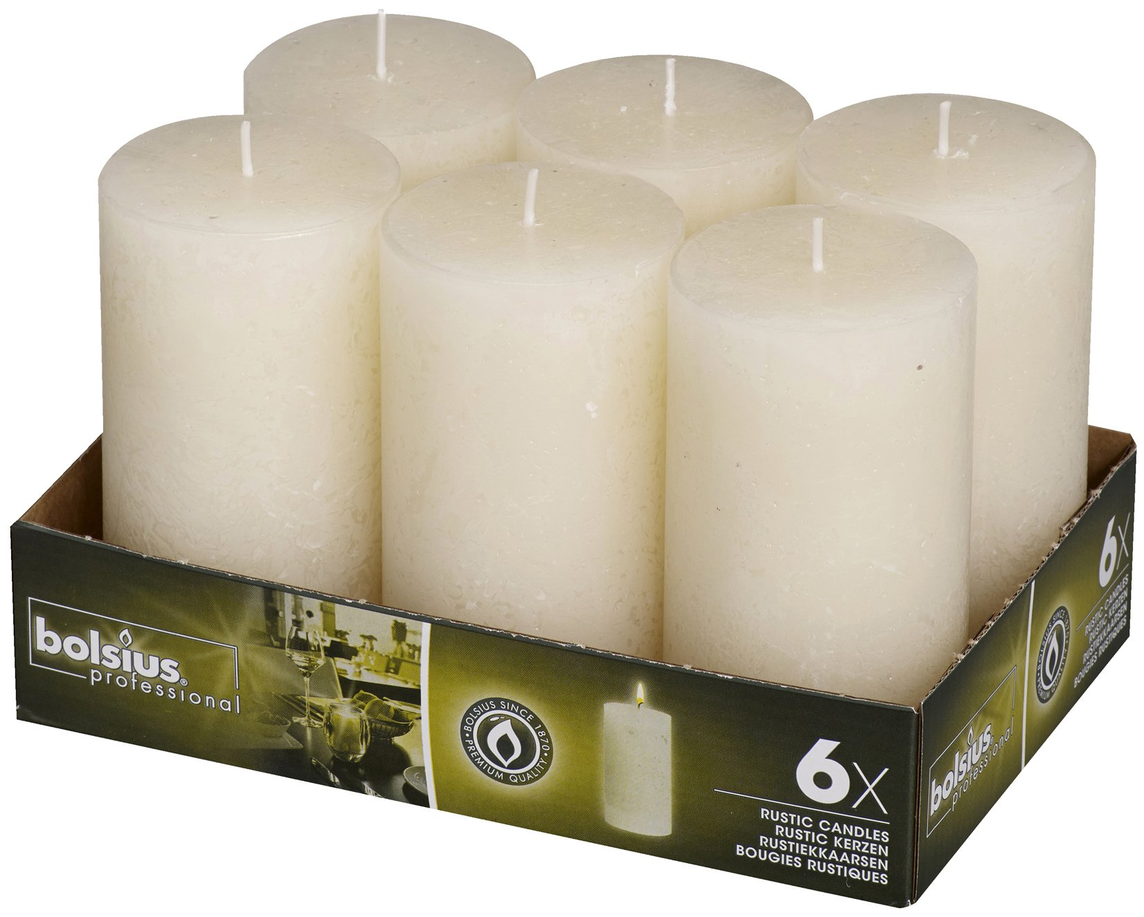 BOLSIUS 6 Pk. Rustic Ivory Pillar Party Wedding Candles 130 X 68mm (Aprox. 5 X 2.75 Inches)