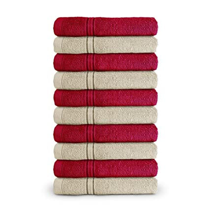 Swiss Republic Essential Plus Collection 480 GSM Ring Spun Cotton with Double Stitch Line Face Towels Set(Red/Ash Violet)-Pack of 10