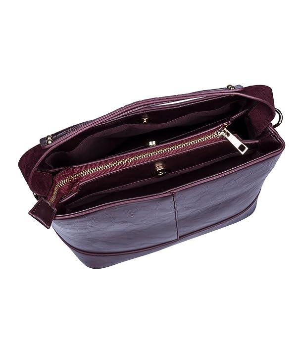 Trend Damen Handtasche, Henkeltasche in dunkelrot und Glattlederoptik mit abnehmbaren Schulterriemen (726-086) SIX