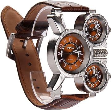 Vococal Reloj Hombre Elegante, 3-MOVT Reloj Hombre de Cuarzo Exhibición,Militar Deportivo Reloj de Pulsera Cuero diseño Moda mecánico Mano Viento Reloj de Pulsera (Café): Amazon.es: Juguetes y juegos
