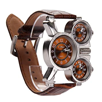 Vococal Reloj Hombre Elegante, 3-MOVT Reloj Hombre de Cuarzo Exhibición,Militar Deportivo Reloj de Pulsera Cuero diseño Moda mecánico Mano Viento ...